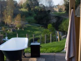 Outdoor bath over looking a Poplar forest