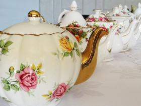 English vintage teapots for high tea party hire na