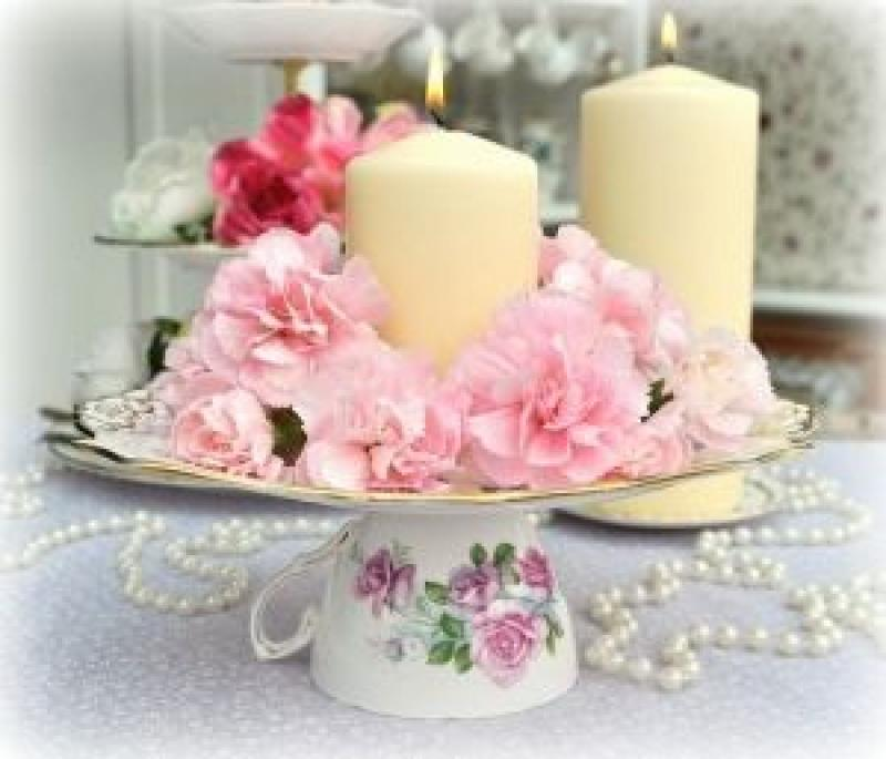Wedding Centre pieces with vintage china
