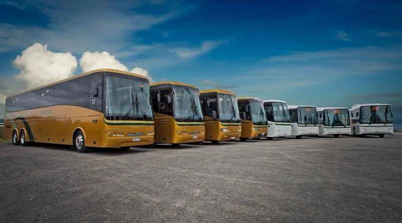 A variety of buses and coaches