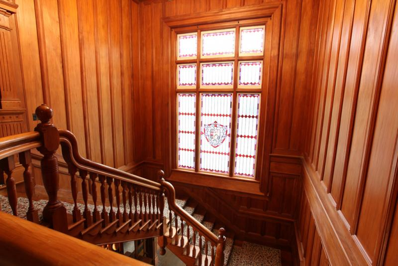Totara paneled staircase & stained glass window